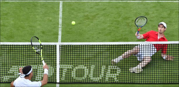 Tennis - Andy Murray au sol. mais sa hanche a tenu
